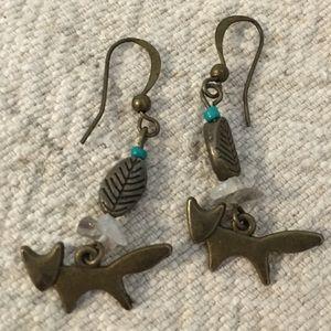 Jewelry - Little Foxy Foxes Fox Earrings BOHO Turquoise Bead